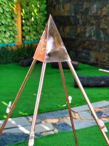 New Third Eye Copper Meditation Nubian Pyramid 36 Inch base with saffron Tent, shink and 8 raw Crystals