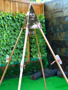 pyramid Plant NEW Nubian Copper Framed Meditation Pyramid 5 Feet Lite weight for Third Eye Activation with seashell and 8 Raw crystals