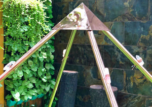 NEW portable Copper Giza heavy 6 feet base Meditation Pyramid with Shree Vishnu conch and Raw crystal