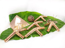 Load image into Gallery viewer, Crystal filled L type 3/8 inch kit  Giza Copper Meditation Pyramid STAND connector only