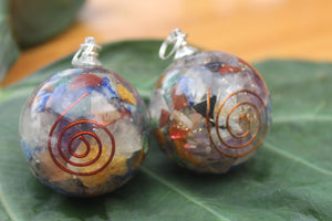Orgon/ Seven Chakra Orgonite Sphere Ball 1.5 inch for Self Healing 2 Pairs