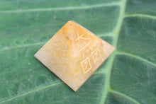 Load image into Gallery viewer, Quartz Reiki Usui Symbol Five Side Engraved Pyramid Healing 40 MM at the base