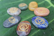 Load image into Gallery viewer, seven chakra stones and symbol set of seven