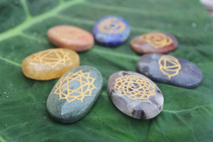 seven chakra stones and symbol set of seven