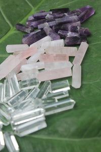 Six Sided Mini Amethyst, clear Quartz and rose quartz Wand, Crystal Massage Wand, Crystal Pencil Point. 4 X 3 = 12 PCS