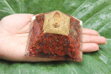 Load image into Gallery viewer, ORGONE/ ORONITE Red jasper Gemstone Crystals pyramid 3 inches