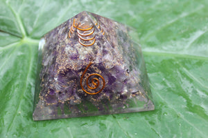 ORGONE/ ORONITE Amethyst Crystal pyramid 3 inches