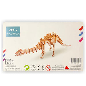 Diplodocus 3D Wood Puzzle Kit - DIY