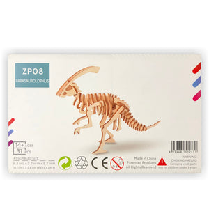 Parasaurolophus 3D Wood Puzzle Kit - DIY