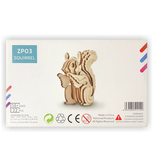 Squirrel 3D Wood Puzzle Kit - DIY