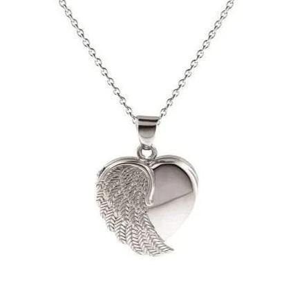 Cara Keepsakes Silver Locket Urns Silver Angel Wing Locket Urn