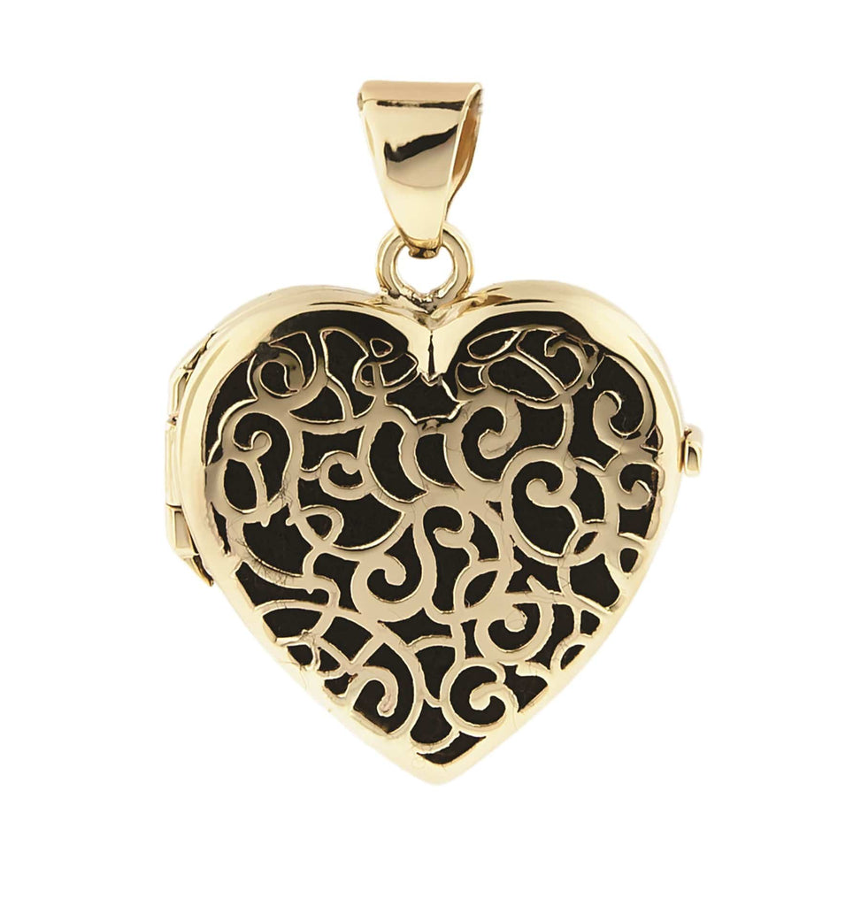 Cara Keepsakes Gold Locket Urns Black Gold Filigree Heart Locket Urn