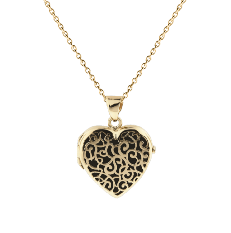 Cara Keepsakes Gold Locket Urns Gold Filigree Heart Locket Urn (14K)