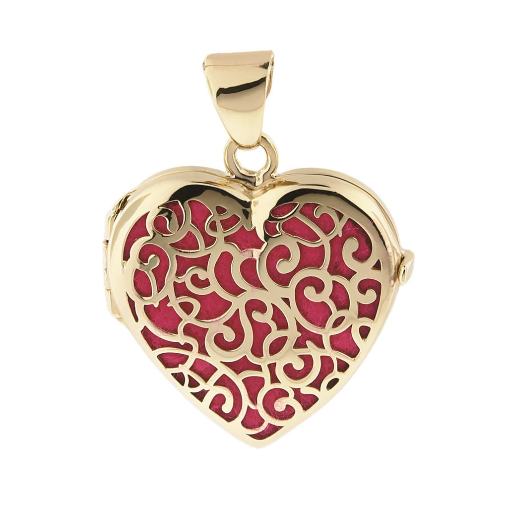Cara Keepsakes Gold Locket Urns Magenta Gold Filigree Heart Locket Urn