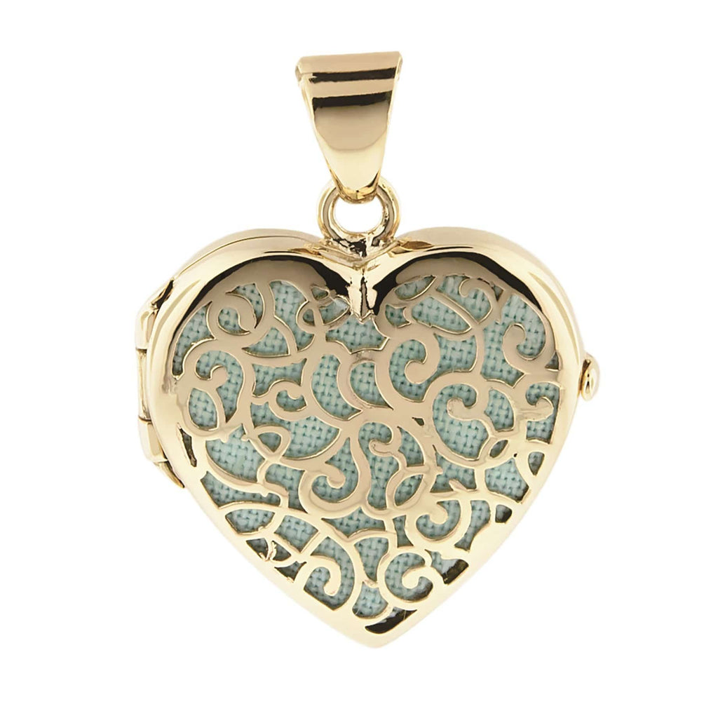 Cara Keepsakes Gold Locket Urns Turquoise Gold Filigree Heart Locket Urn
