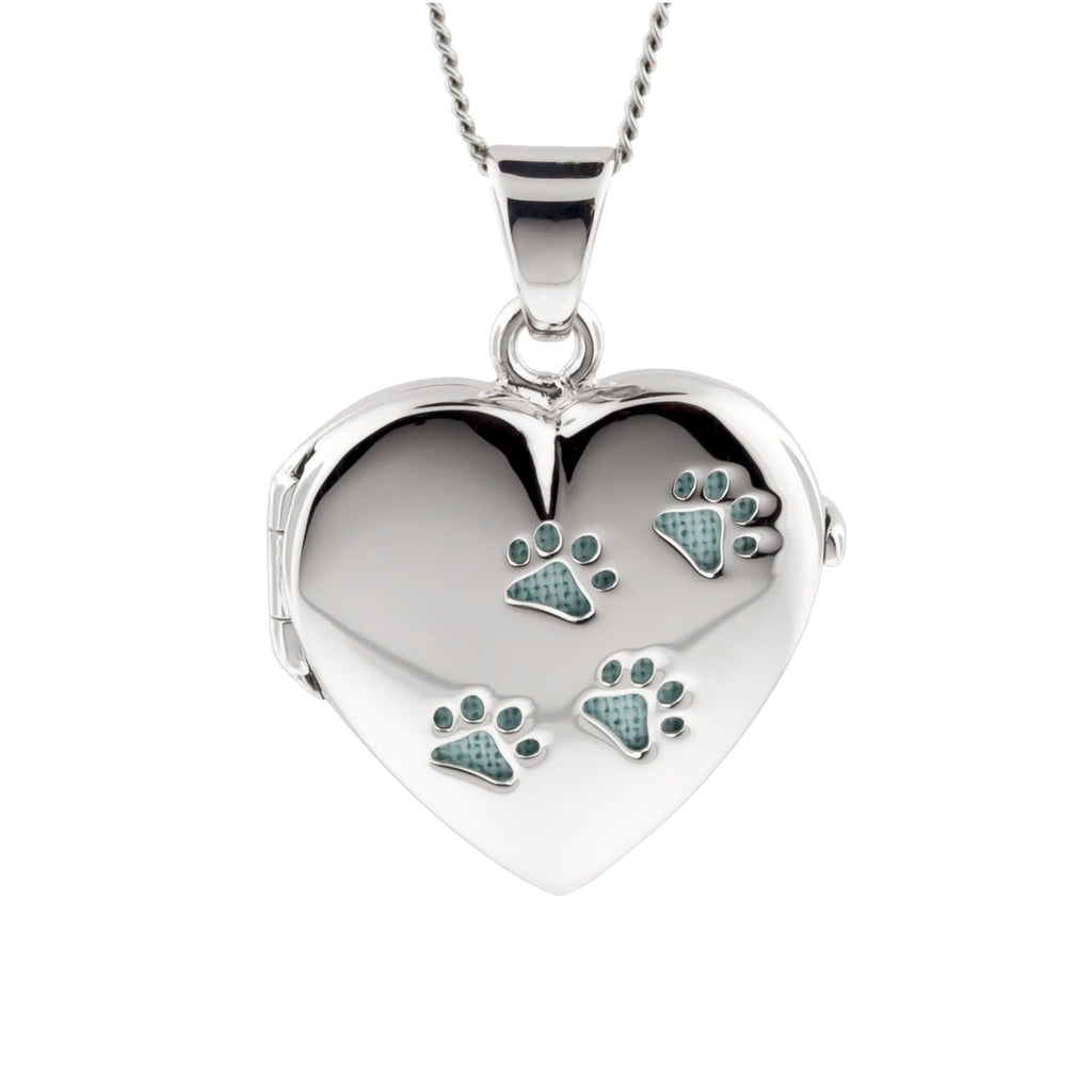 Cara Keepsakes Silver Locket Urns Paw Print Locket Urn