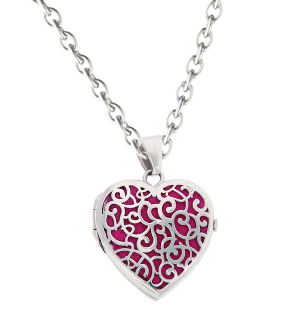 Cara Keepsakes Silver Locket Urns Magenta Silver Filigree Heart Locket Urn - magenta