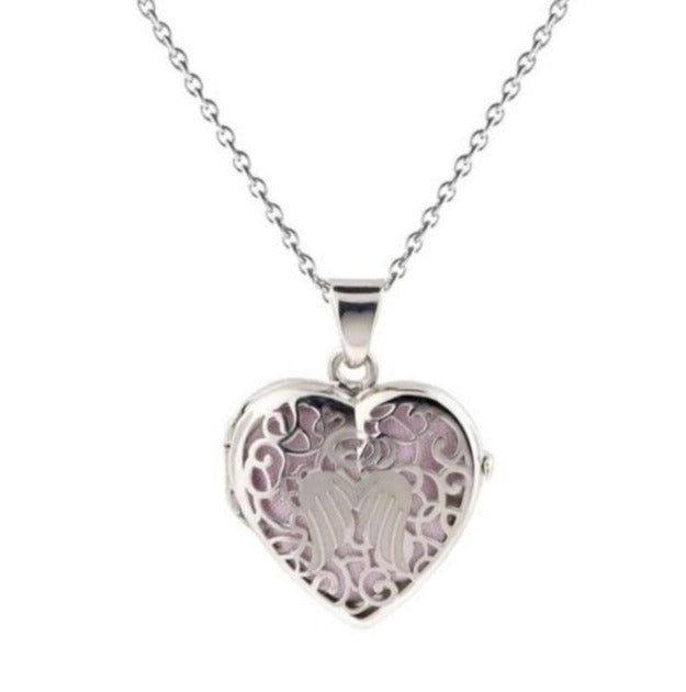 Cara Keepsakes Silver Locket Urns Angel Heart Locket Urn