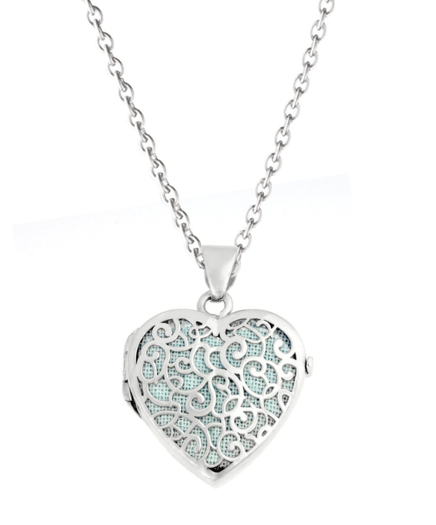 Cara Keepsakes Silver Locket Urns Turquoise Silver Filigree Heart Locket Urn - turquoise