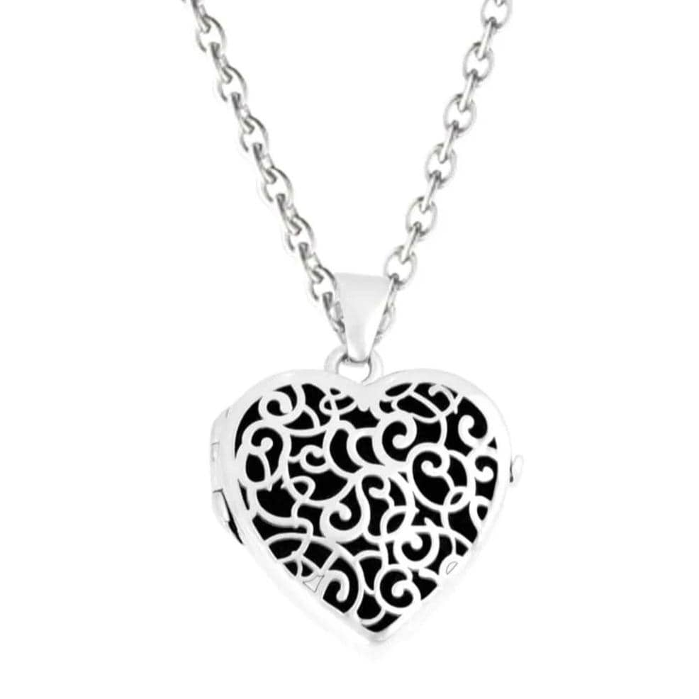 Cara Keepsakes Silver Locket Urns Black Silver Filigree Heart Locket Urn