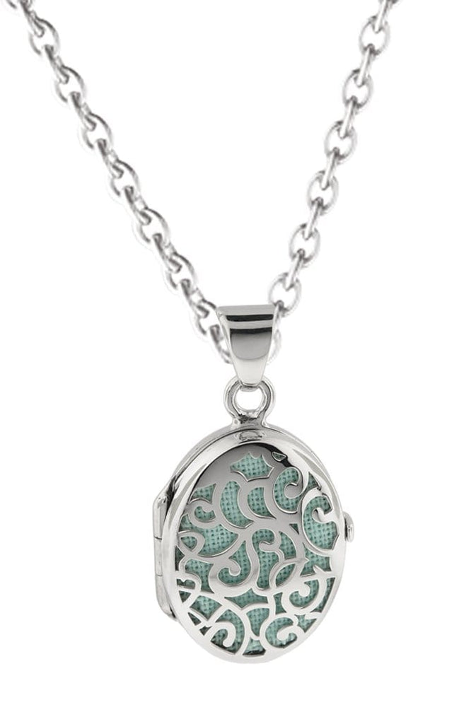 Cara Keepsakes Silver Locket Urns Turquoise Silver Filigree Oval Locket Urn - turquoise