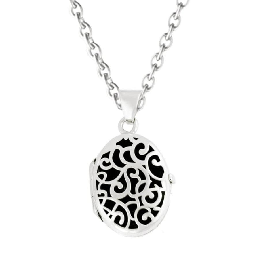 Cara Keepsakes Silver Locket Urns Black Silver Filigree Oval Locket Urn