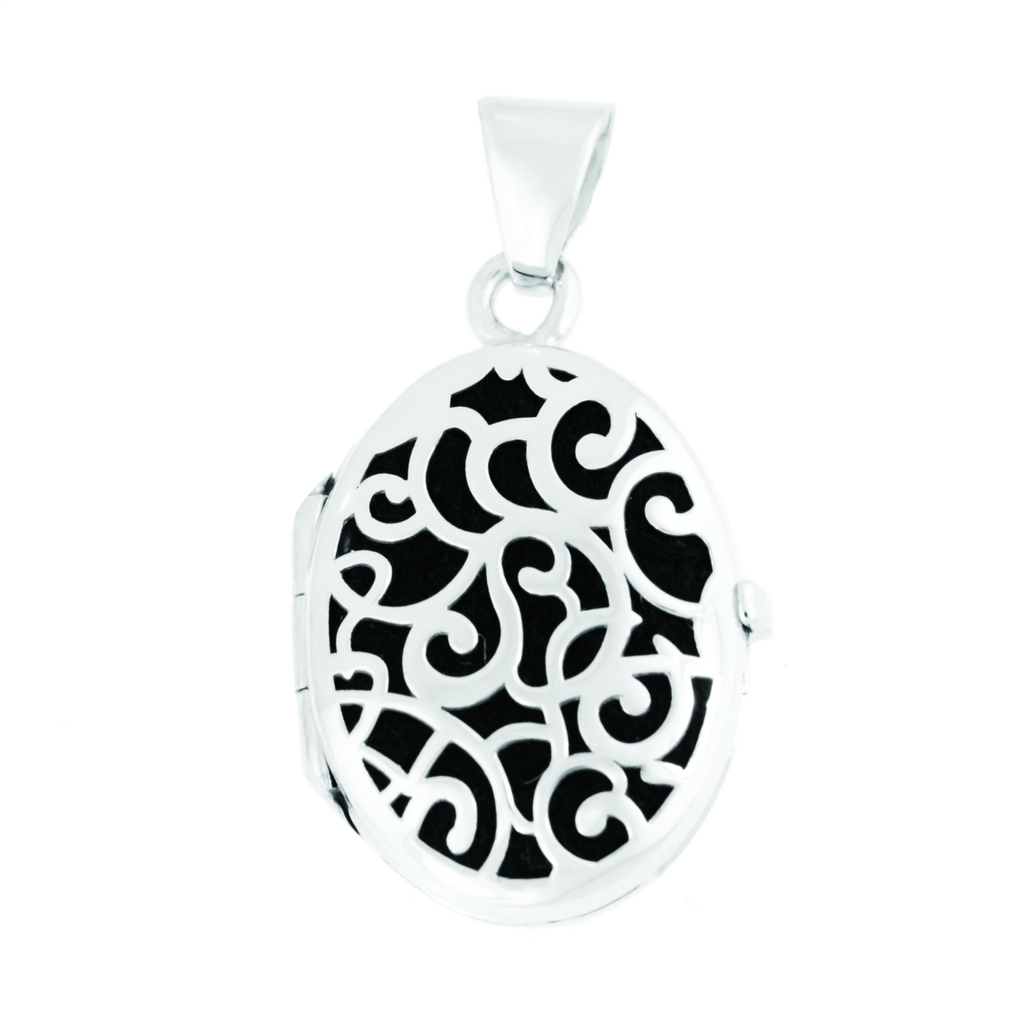 Cara Keepsakes Silver Locket Urns Silver Filigree Oval Locket Urn close up - black