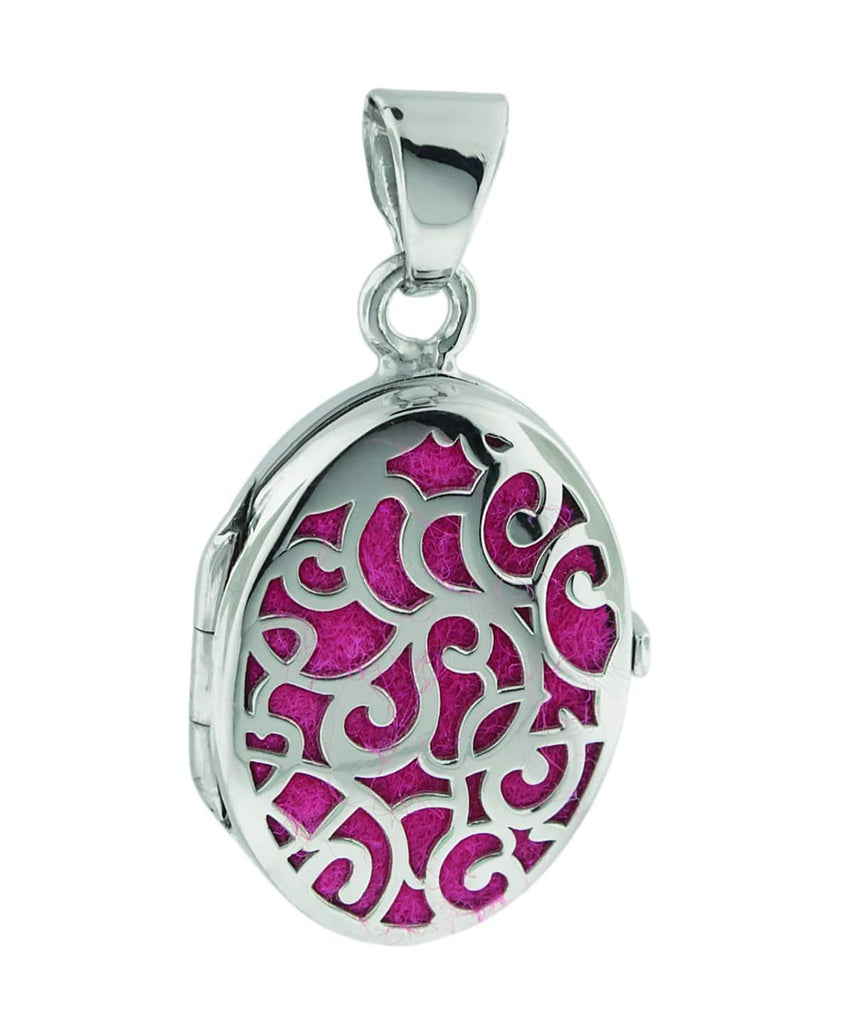 Cara Keepsakes Silver Locket Urns Silver Filigree Oval Locket Urn close up - magenta