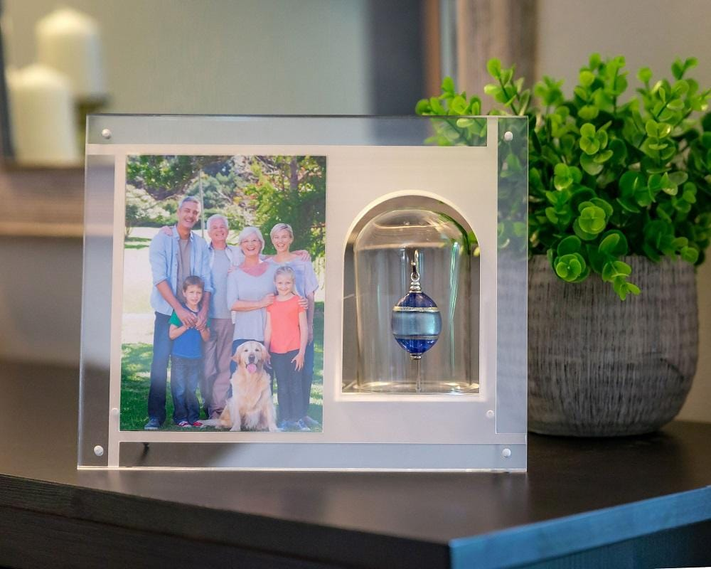 "Cara Keepsakes Keepsake Urn Mini Urn with Picture Frame Keepsake Urn - ""Serenity"" (Olive Shaped)"