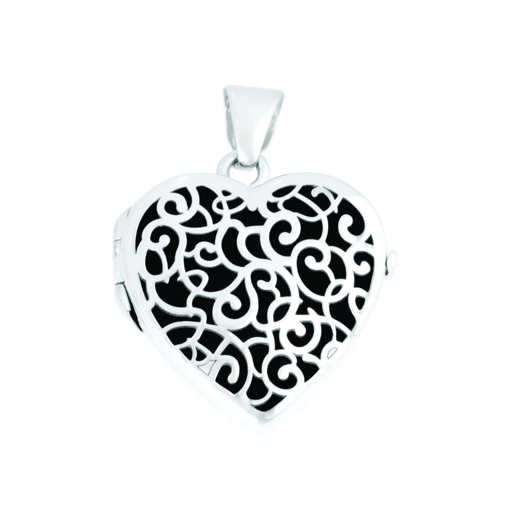 Cara Keepsakes Silver Locket Urns Silver Filigree Heart Locket Urn close up - black