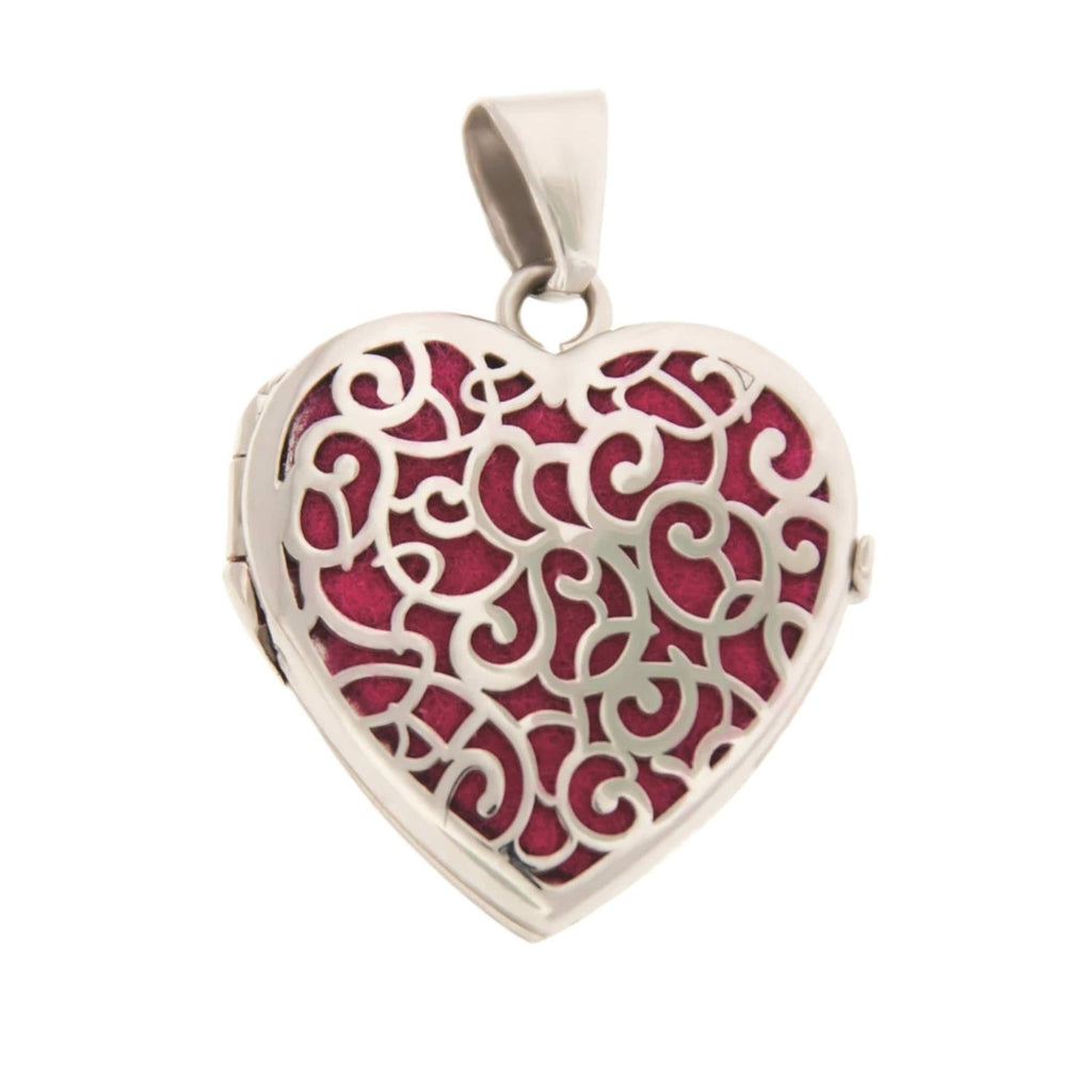 Cara Keepsakes Silver Locket Urns Silver Filigree Heart Locket Urn close up - magenta