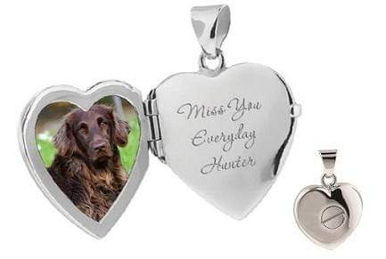 Cara Keepsakes Silver Locket Urns Dog Paw Print Locket Urn