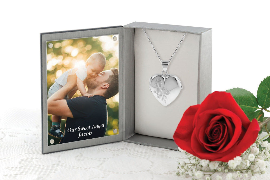 Cara Keepsakes Silver Locket Urns 'Forget Me Not' Locket Urn in jewelry box