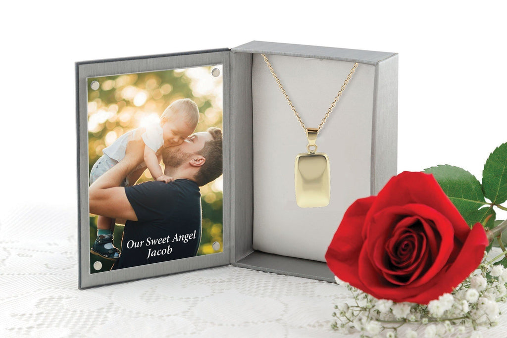 Cara Keepsakes Gold Locket Urns Gold Rectangle Pendant Urn (10K)