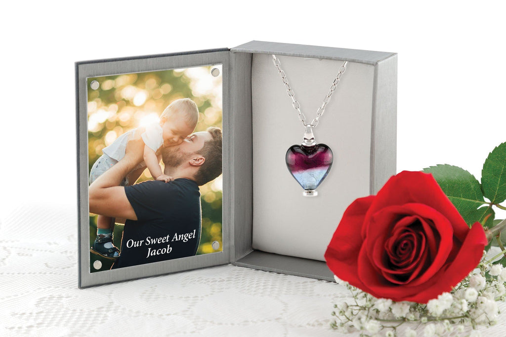Cara Keepsakes Murano Glass Heart Urn - 'Joyful Hope' in jewelry box