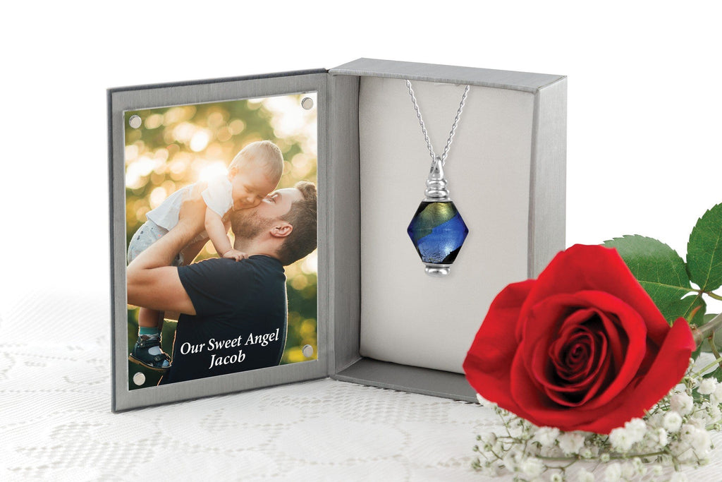 Cara Keepsakes Murano Glass Pendant Urn - 'Peaceful Waters' in jewelry box