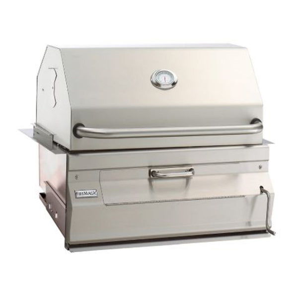 Fire Magic Legacy 30-Inch Charcoal Built-In Grill w/ Smoker Hood and Analog Thermometer - 14-SC01C-A