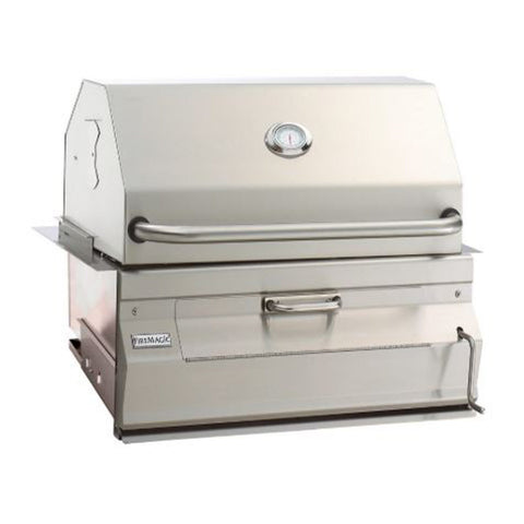 Fire Magic Legacy 24-Inch Charcoal Built-In Grill w/ Smoker Hood and Analog Thermometer - 12-SC01C-A