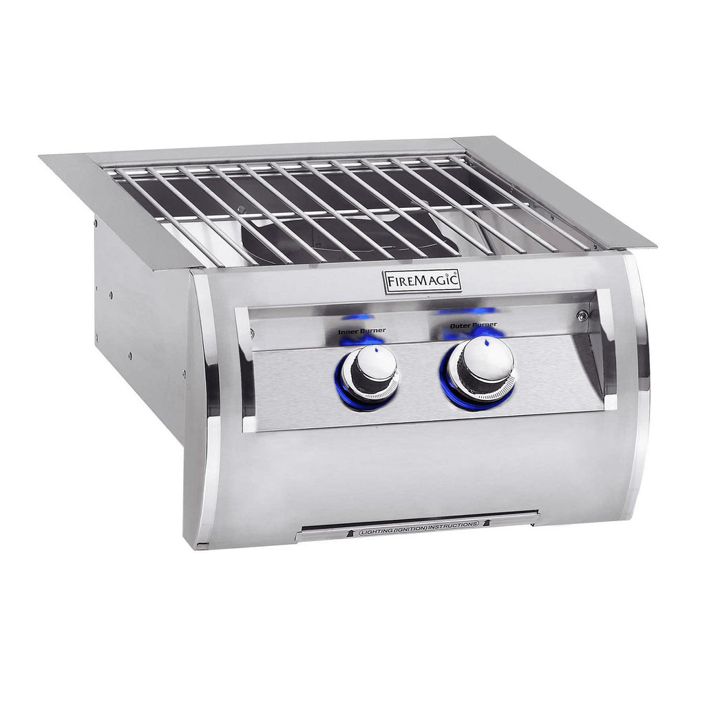 Fire Magic Echelon Diamond Propane Gas Built-In Power Burner w/ Stainless Steel Cooking Grid and Lid - 19-5B1P-0