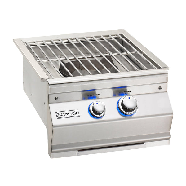 Fire Magic Aurora Propane Gas Built-In Power Burner w/ Stainless Steel Cooking Grid and Lid - 19-7B1P-0