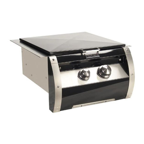 Fire Magic Echelon Black Diamond Natural Gas Built-In Power Burner w/ Stainless Steel Cooking Grid and Black Steel Hinged Lid - 19-H5B1N-0