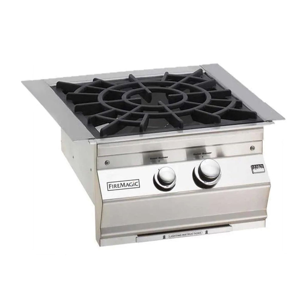 Fire Magic Classic Propane Gas Built-In Power Burner w/ Porcelain Coated Cast Iron Cooking Grids and Lid - 19-KB2P-0