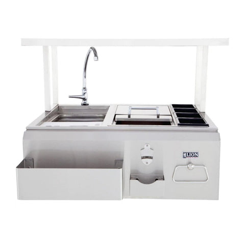 Lion 30-Inch Built-In Stainless Steel Bar Center w/ Sink, Ice Bin, Condiment Holders, and Faucet - 19836