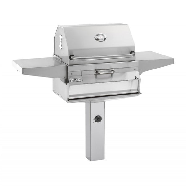 Fire Magic Legacy 24-Inch Charcoal In-Ground Post Mounted Grill w/ Smoker Hood and Analog Thermometer - 22-SC01C-G6