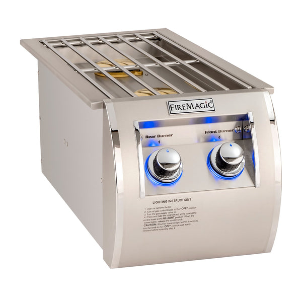 Fire Magic Echelon Propane Gas Built-In Double Side Burner w/ Stainless Steel Hinged Lid - 32815P