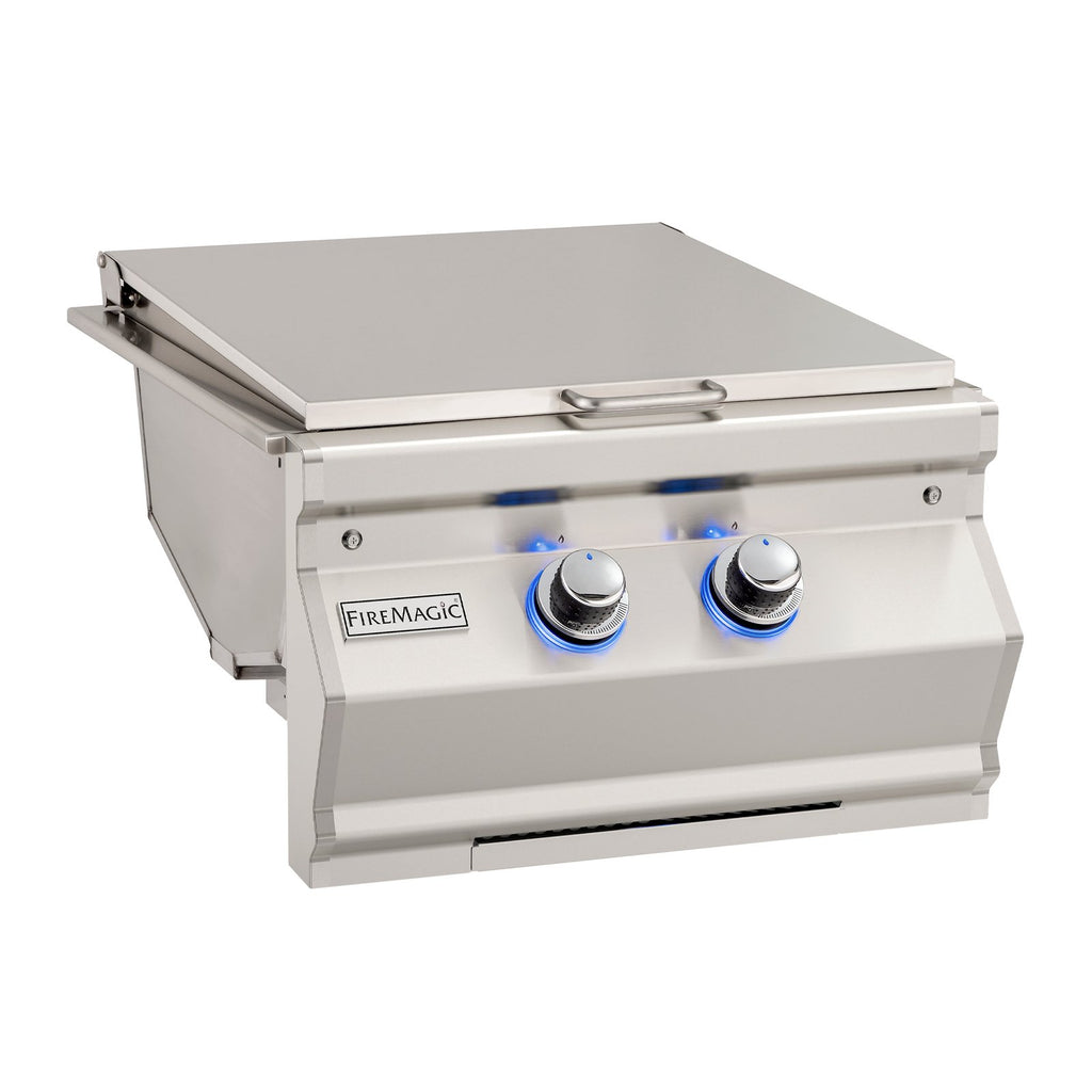 Fire Magic Aurora Propane Gas Built-In Double Infrared Searing Station w/ Stainless Steel Hinged Lid - 32887-1P