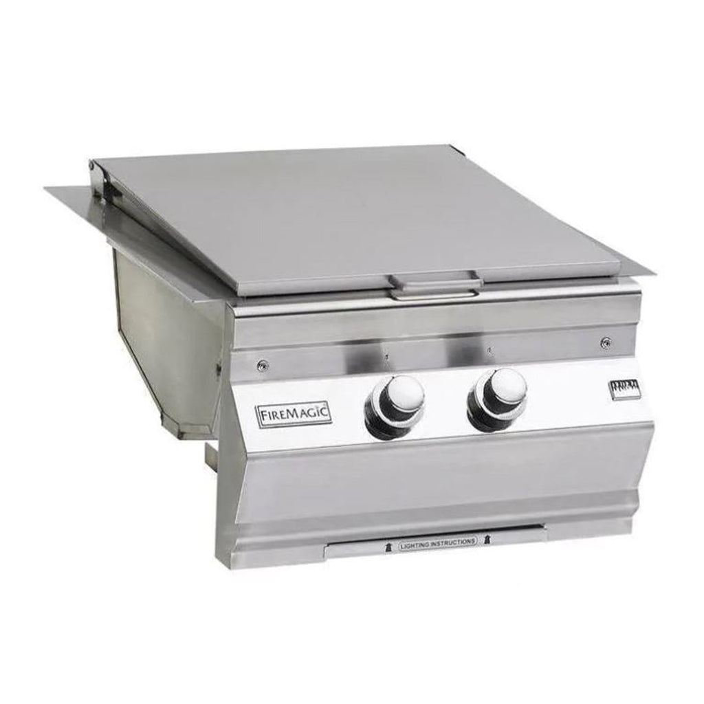 Fire Magic Classic Natural Gas Built-In Double Infrared Searing Station w/ Stainless Steel Hinged Lid - 3288K-1