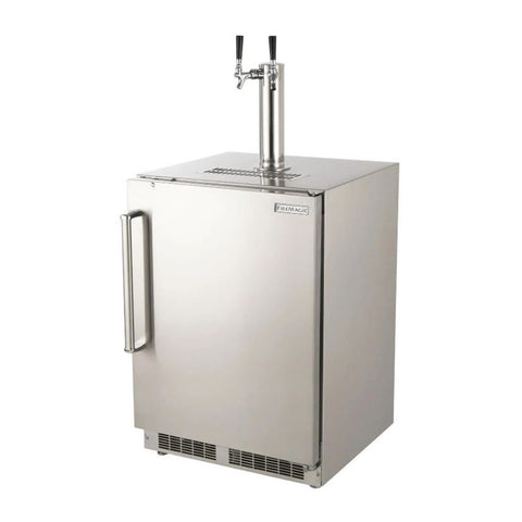 Fire Magic 24-Inch Outdoor Rated Dual Tap Kegerator w/ Stainless Steel Squared Edge Premium Door (Right Hinge) - 3594-DR
