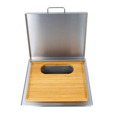 Fire Magic Counter Trash Chute With Cutting Board and Stainless Steel Cover - 53816