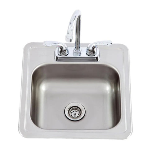 Lion 15-Inch by 15-Inch Outdoor Rated Stainless Steel Sink w/ Hot & Cold Faucet - 54167